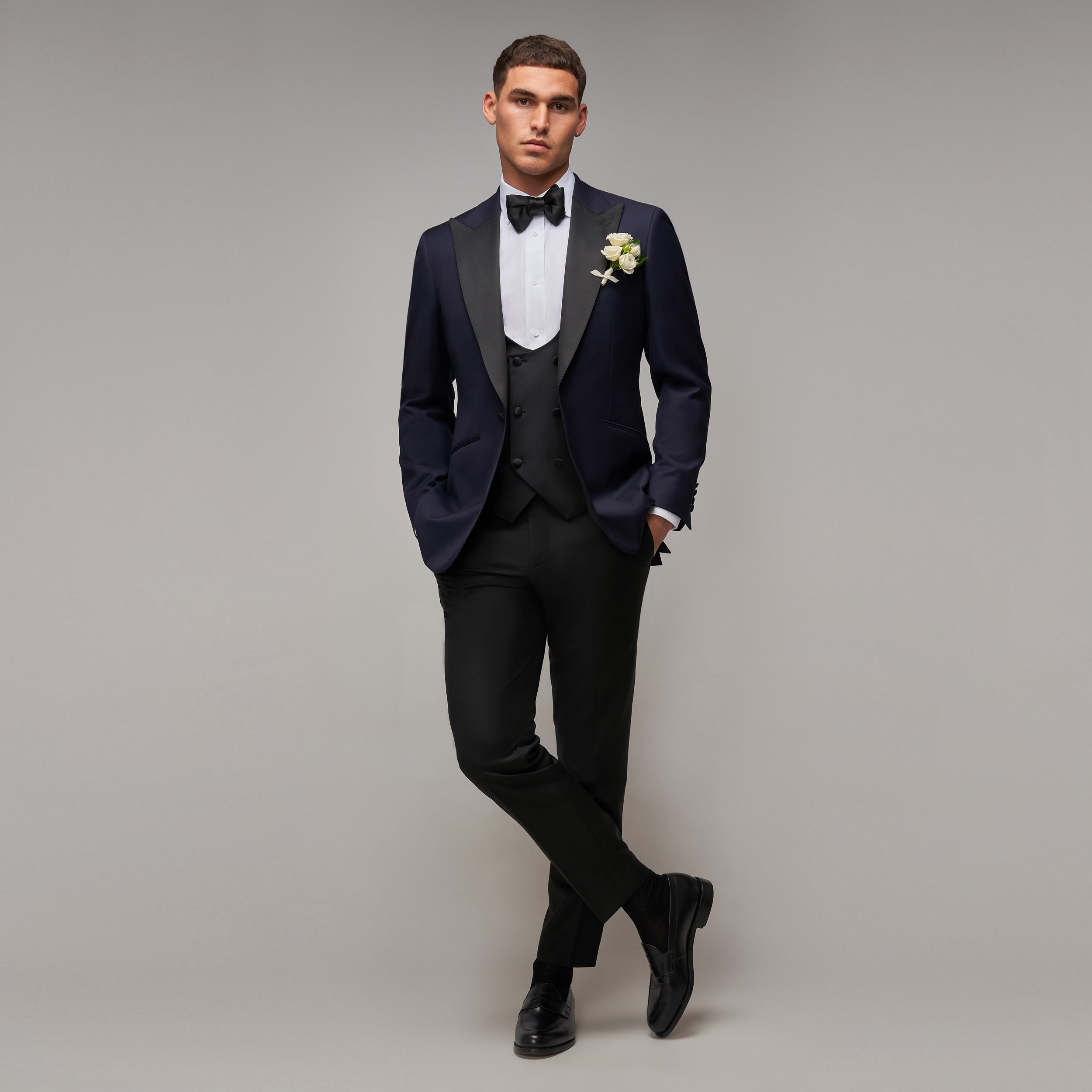 Brent Wilson Navy Blue and Black Wedding Tuxedo Collection