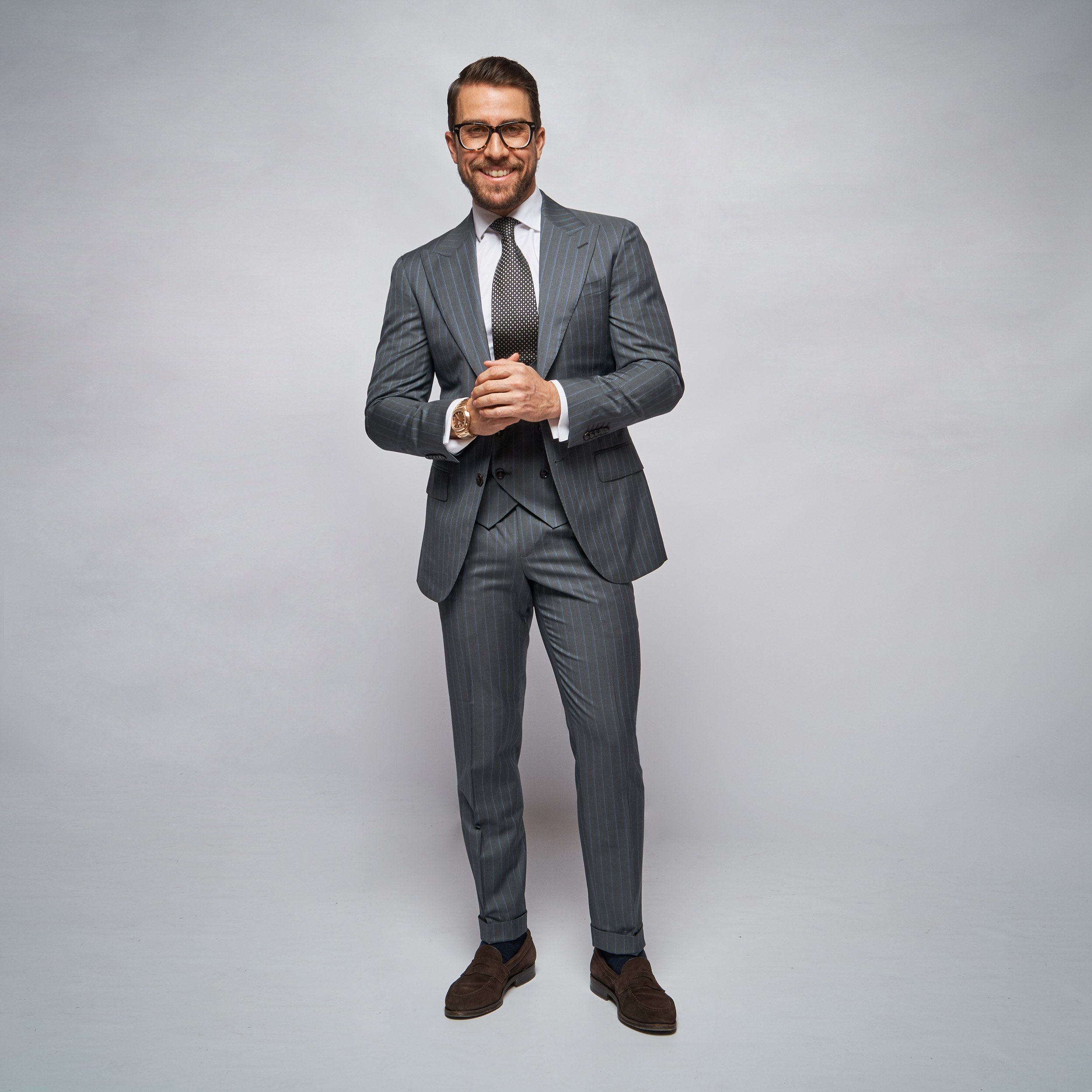 Brent Wilson Grey and White Two Piece Business suits Collection
