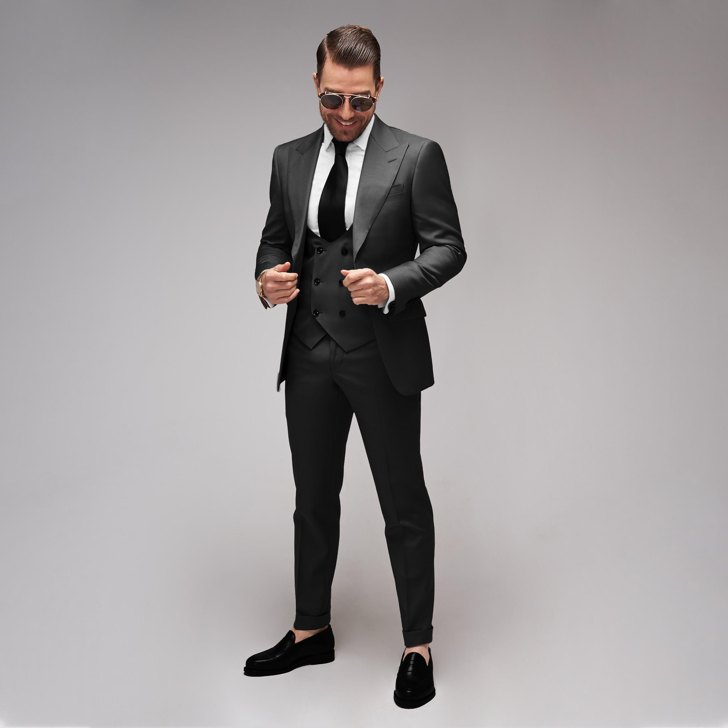 Brent Wilson Black Two Piece Business suits Collection